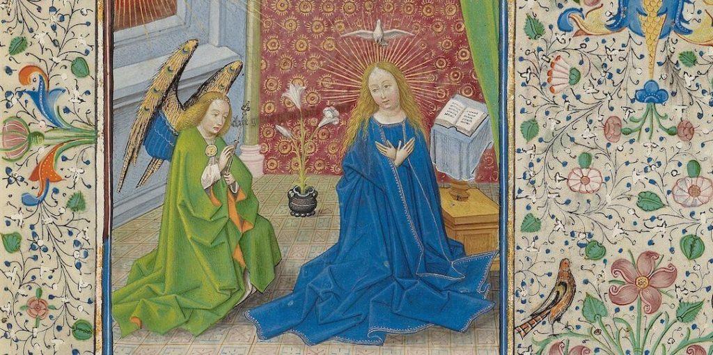 Burgh, klooster Leliëndaele, gehele miniatuur annunciatie Gabriel kondigt Maria geboorte aan, met lelie, (Vlaams, Willem Vrelant, Getty ms ludwig-IX-8-f-58r)
