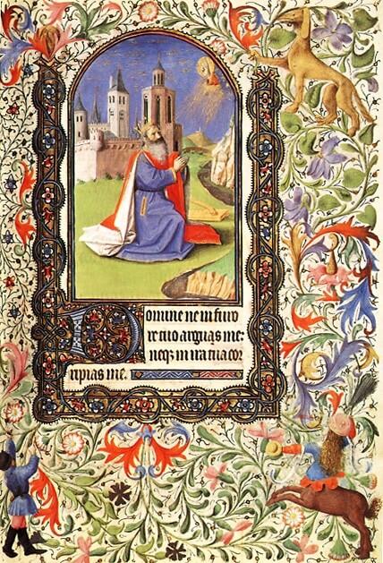 Haamstede, Grauwzusters Noordklooster , David toont berouw, Boetepsalm 6, Getijdenboek Namen, bibliotheek Groot Seminarie Namen, fol 77