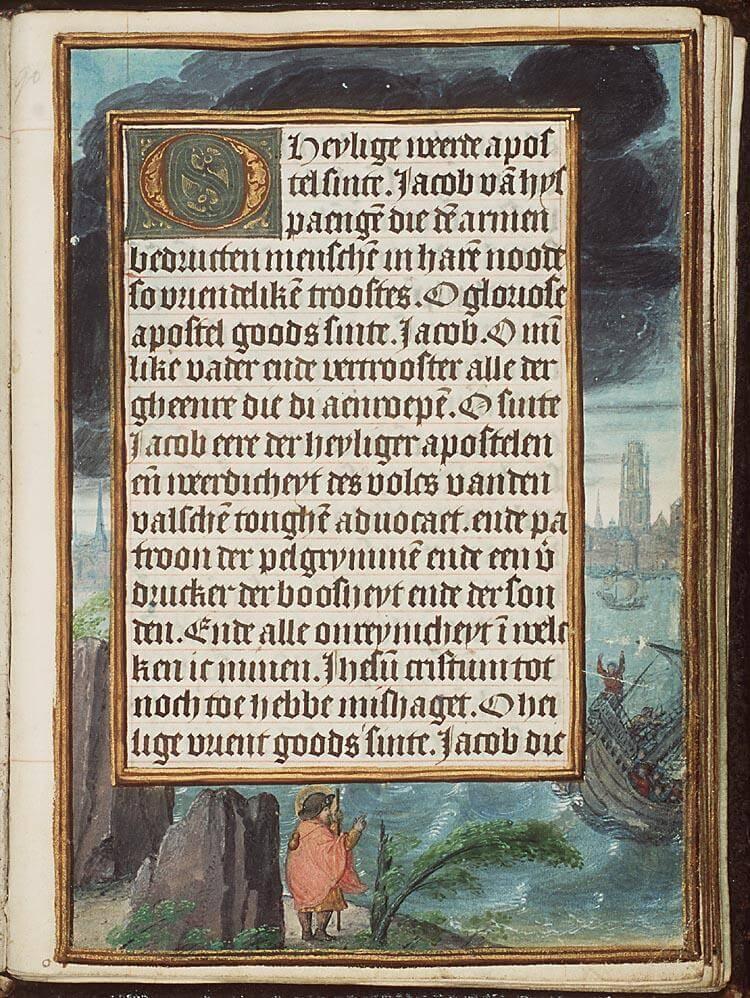 Haamstede duinen, OLV op zee, St Jacob waakt over schip in nood, Getijdenboek, Antwerpen op achtergrond, KB, MMW, 10 E 4, fol.90r