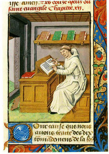 Noordgouwe, Sionsklooster, Karthuizer monnik schrijvend in zijn cel, uit Ludolphus van Saksen, Vita Christi, eind 15e eeuw.