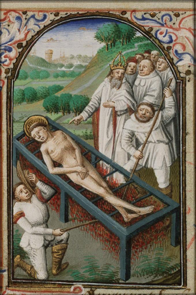 Rengerskerke, St Laurentius op rooster detail, Getijdenboek Simon de Varie, Master of Jean Rolin II , 1440 tot 1465 , KB 74 G37, folio 073v