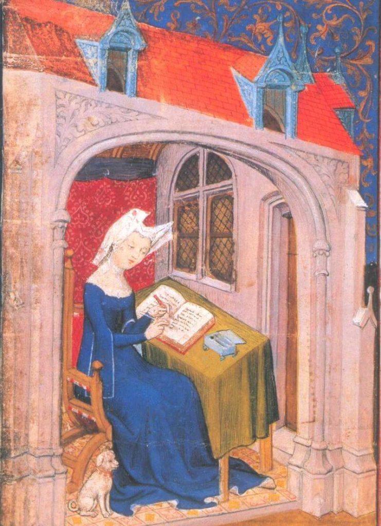 Zierikzee, Begijnen Christine de Pisan in haar studeerkamer, Londen, British Library, Ms. Harley 4431, f. 4r Meester van de Cité des Dames