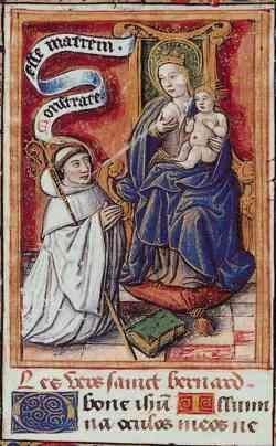 Zierikzee, Bernadieten genoemd naar Bernhardus van Clairvaux, Maria Lactans, Frans miniatuur 1480