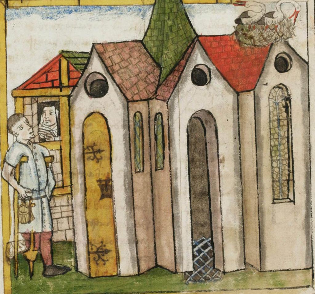 Zierikzee, Cellezusters zuster in kluis heeft bezoek, 1450, St Gallen Stifsbibliothek ms 602, fol 324