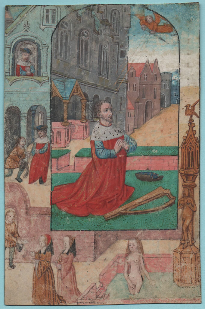 Zierikzee, Grauwzusters MINIATURE DAVID AND BATHSHEBA Southern Netherlands or Flanders Bruges c.1500-1520, Bubb Kuyper Auctions, Haarlem, Sale No. 57, L, afgesneden aan rand