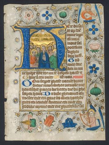 Zierikzee begarden, moderne devotie, Pinksteren, uit Sarijshandschrift Zwolle, 1475-1500